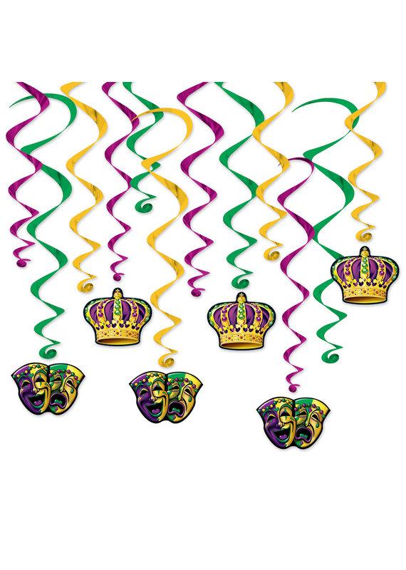 *****Mardi Gras 12ct Whirls Hanging Decorations