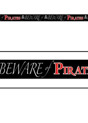 """***Plastic Party Tape """"Beware Of Pirates"""" 20ft"""