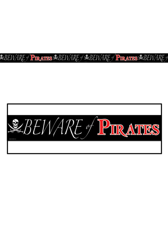 """****Plastic Party Tape """"Beware Of Pirates"""" 20ft"""