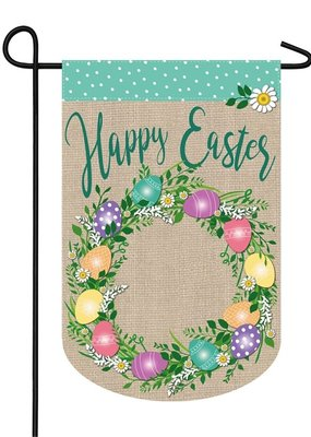 ***Easter Egg Wreath Garden Burlap Flag