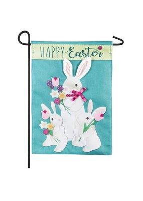 ***Bunny Trio Garden Burlap Flag