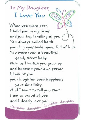 ***To My Daughter I Love You Wallet Card