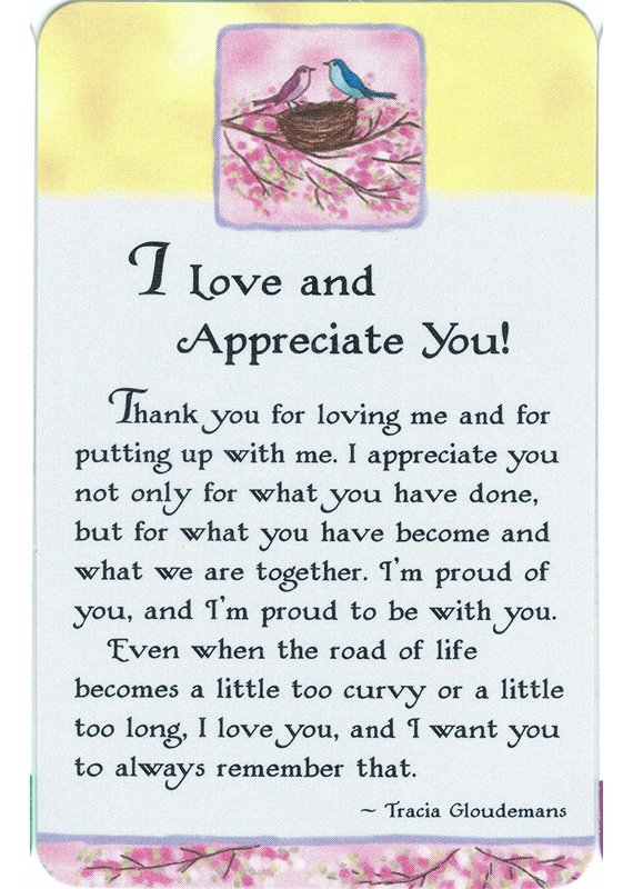 ****I Love and Appreciate You Wallet Card