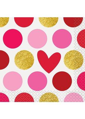 ***Gold Happy Valentine's Day Beverage Napkin