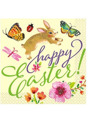 ***Floral Easter Bunny Beverage Napkin