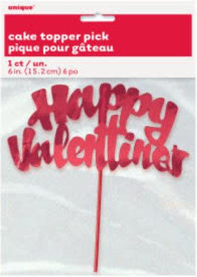 ***Red Valentine Cake Topper Pick