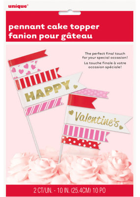 ***Valentine Pennant Cake Toppers 2ct