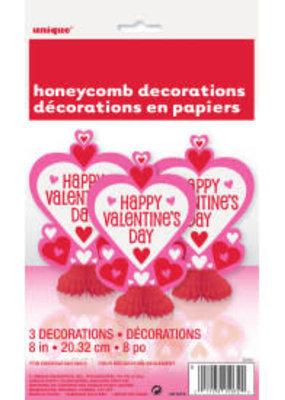 "***Valentine 8"" Honeycomb Decorations 3ct"