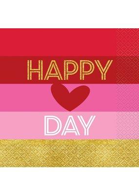Gold Happy Valetine's Day Lunch Napkins 16ct