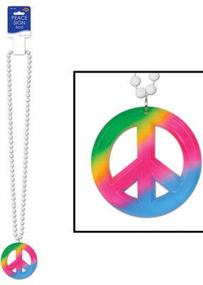 ***Beads with Peace Sign Medallion