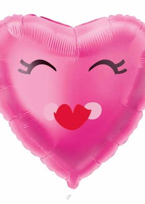 ***Smiling Pink Heart Mylar Balloon