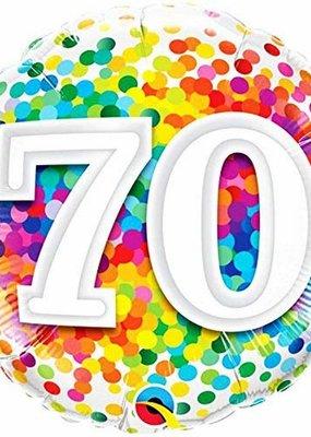 ***Rainbow Confetti 70 Birthday Mylar Balloon