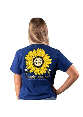 ***Short Sleeve Sunflower Midnight