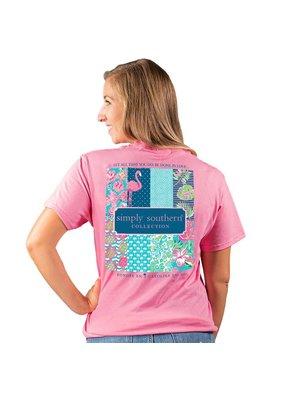 ***Short Sleeve Preppy Logo Flamingo