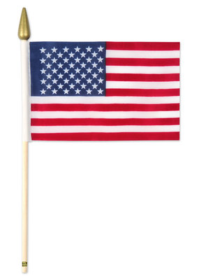 "***American Flags on 10.5"" Wooden Sticks 12ct"