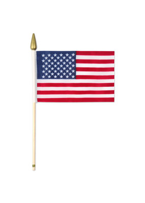 """***American Flags on 10.5"""" Wooden Sticks 12ct"""