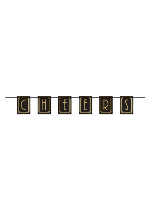 """*****Cheers Banner Black & Gold 9"""" x 6ft"""