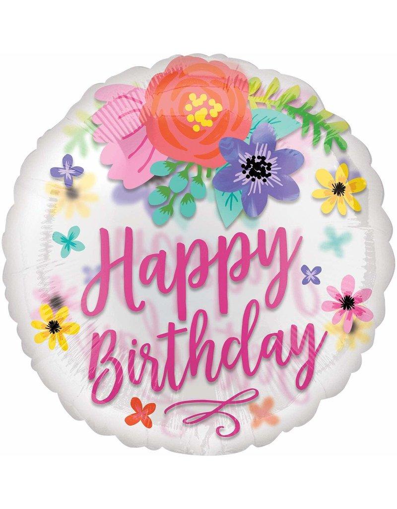 "***Birthday Confetti Floral Fun 28"" See Thru Balloon"