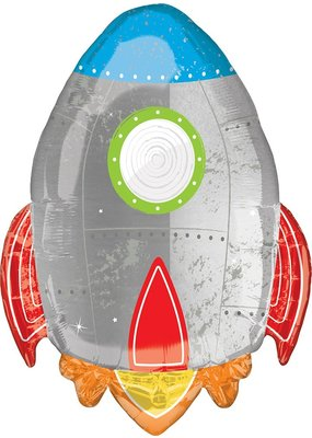 "***Blast Off Birthday Rocket 29"" Mylar Balloon"