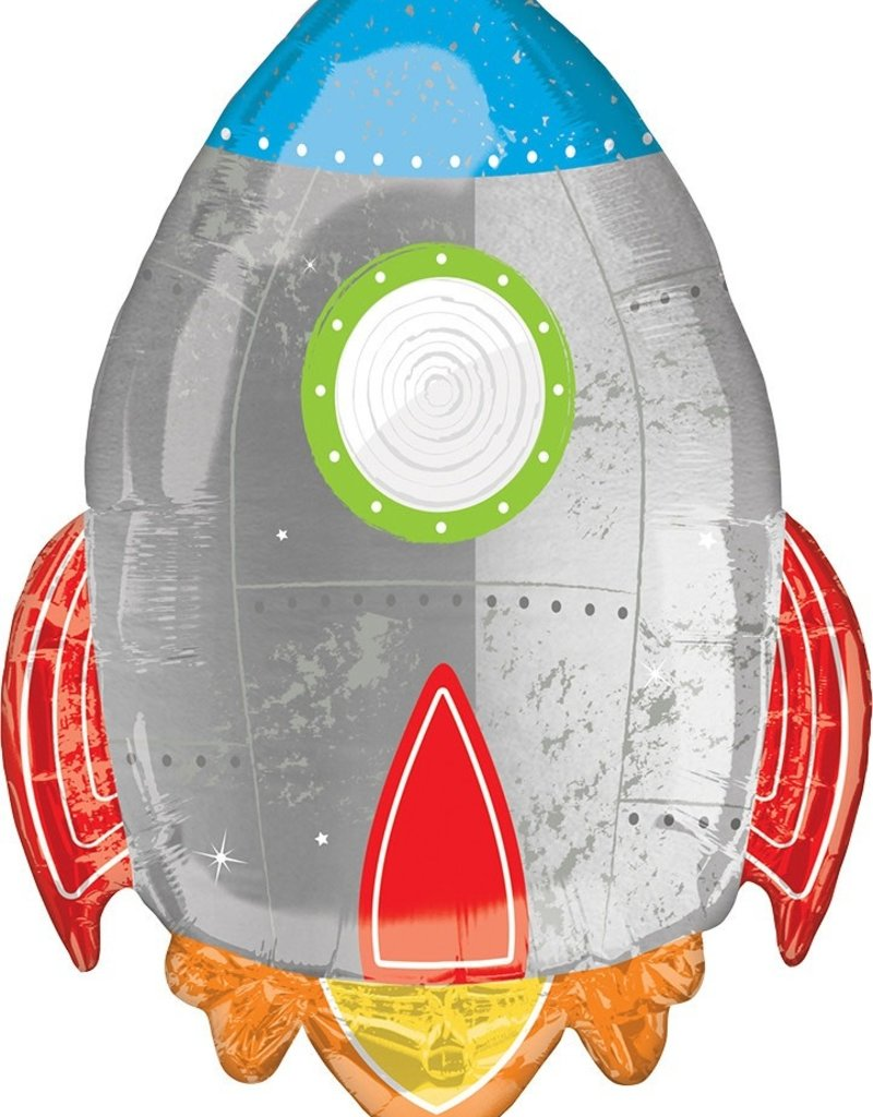 "***Blast Off Birthday Rocket 29"" Mylar Balloon"