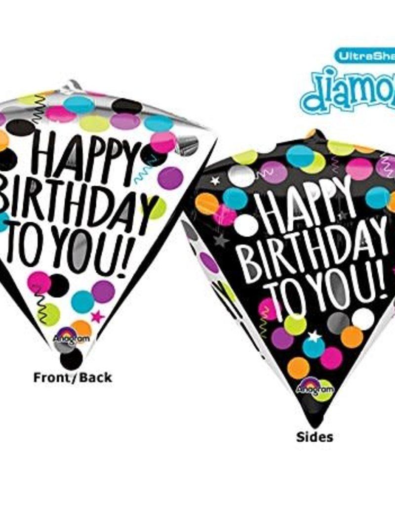 ***Birthday Black & White Diamondz Balloon