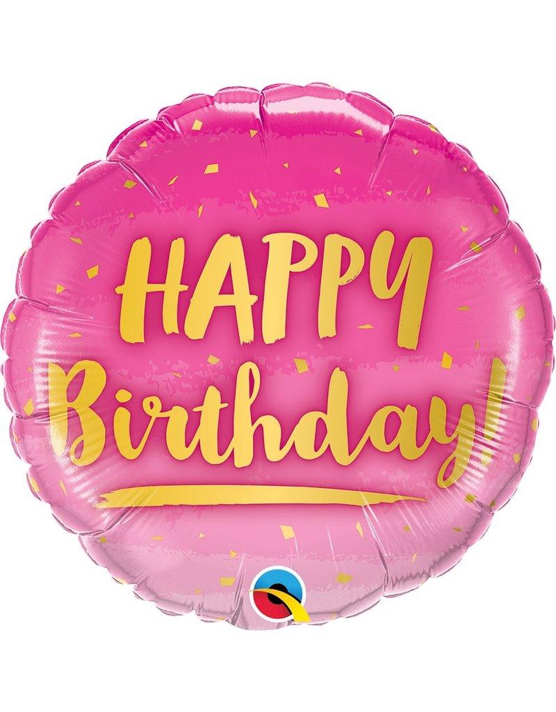 "***Birthday Gold & Pink 18"" Mylar Balloon"