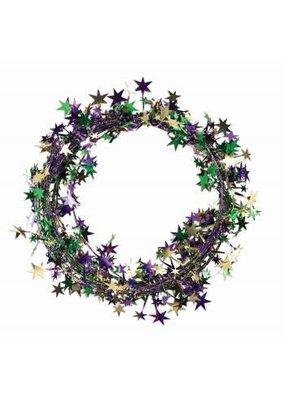 ***Wire Star Garland Green, Purple, Gold