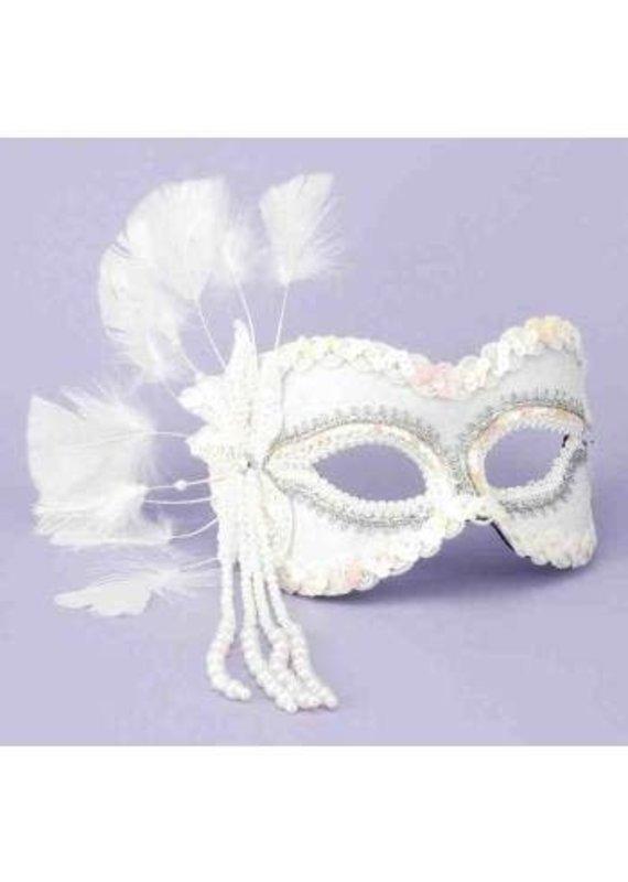 ***White Venetian Half Mask