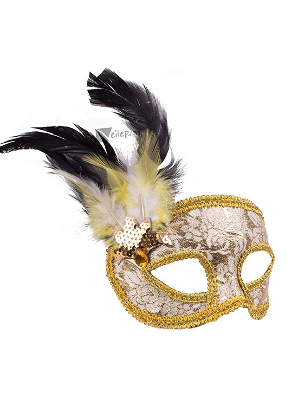 ***Silver & Gold Venetian Half Mask