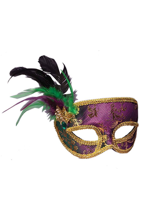 ***Purple and Green Venetian Half Mask