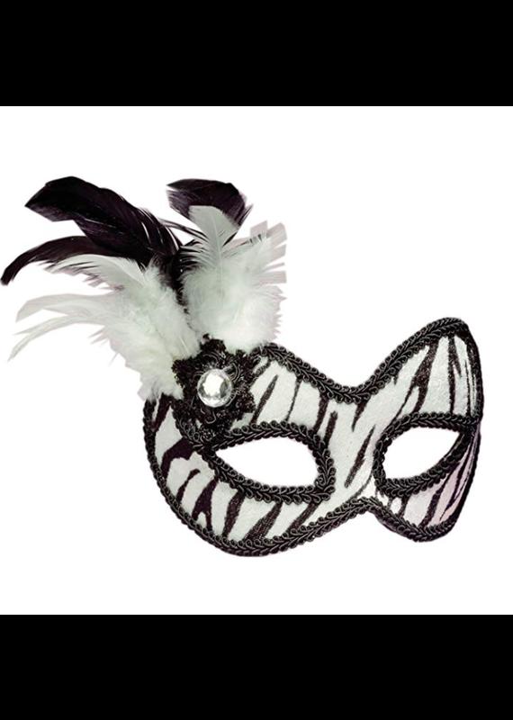 ***Zebra Venetian Half Mask