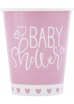 ***Pink Hearts Baby Shower 9oz Paper Cup