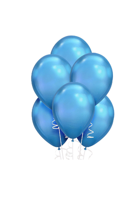 "***Platinum Blue Metallic 11"" Balloons 6ct"