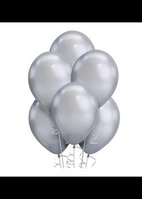"***Platinum Silver Metallic 11"" Balloons 6ct"