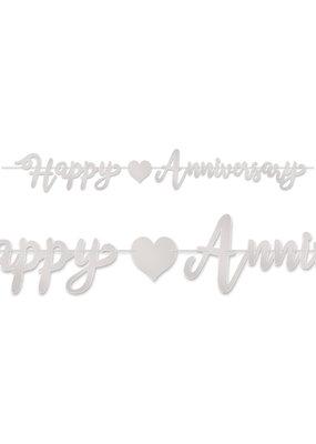 ***Silver Happy Anniversary Banner