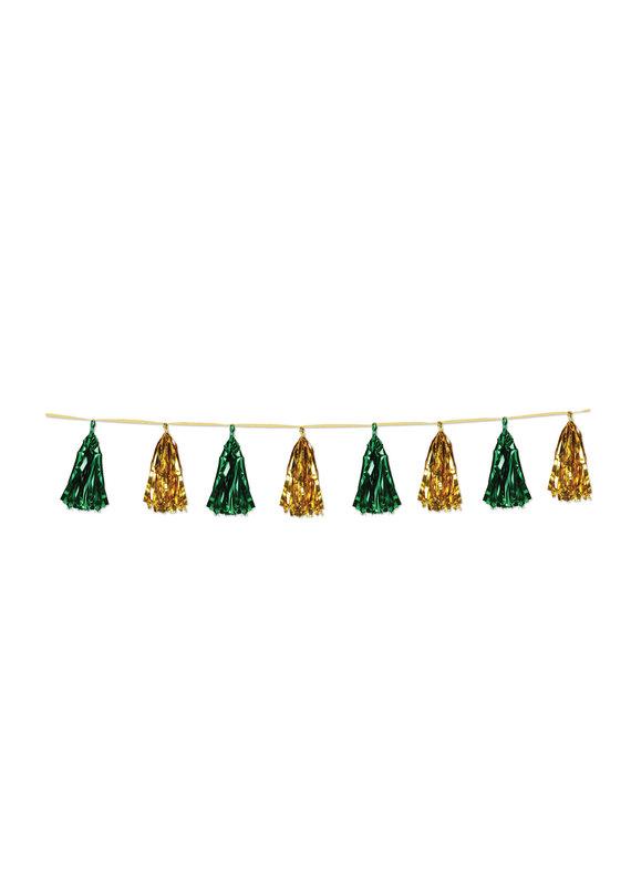 ****Metallic Tassel Garland Green & Gold