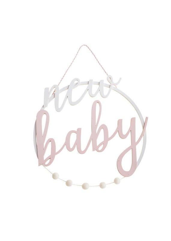 ***Pink New Baby Door Hanger