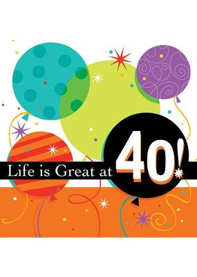 ***Life Is Great at 40 Luncheon Napkins 16ct