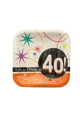 """***Life is Great at 40 Dessert 7"""" Square Plate 8ct"""
