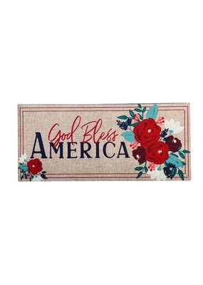 ***Patriotic Floral God Bless America Sassafrass Swith Mat
