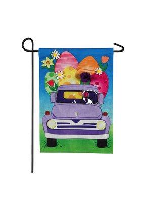 ***Easter Egg Truck Garden Burlap Flag