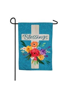 ****Blessings Floral Cross Garden Burlap Flag