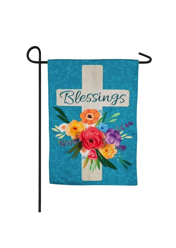 ****Blessings Floral Cross Garden Burlap Flag