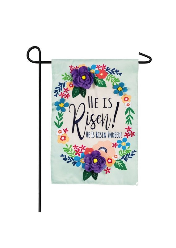 ****He Is Risen Floral Garden Applique Flag