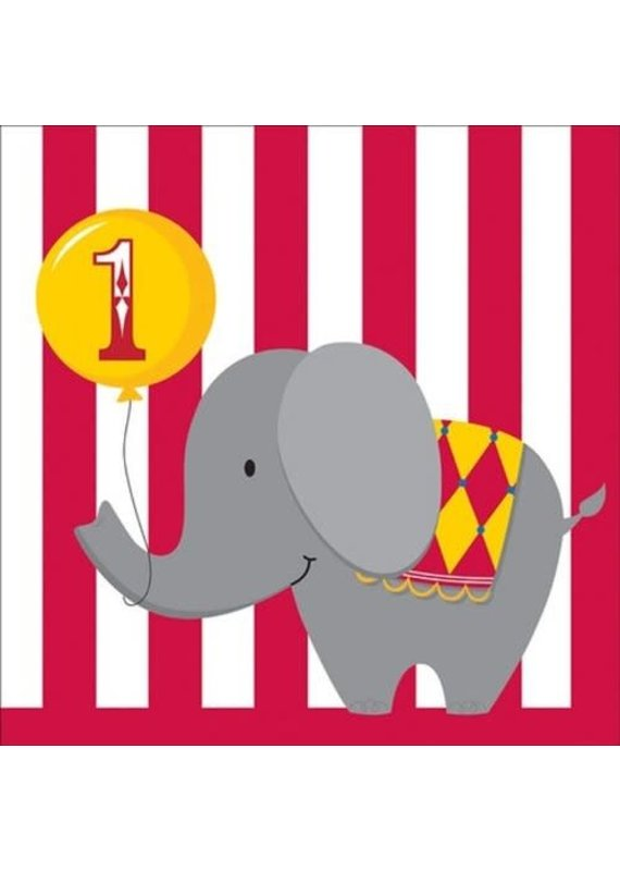 ***Happy 1st Birthday Circus Time Lunch Napkin