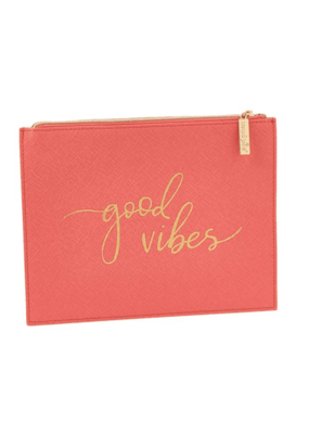 ***Good Vibes Coral Pouch