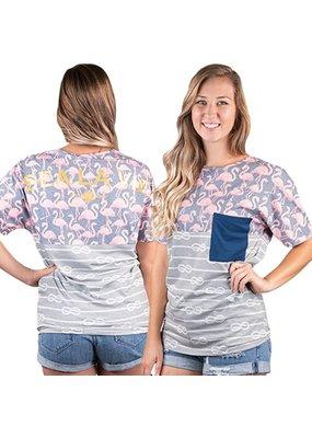 ***Flamingo Tail Gate Striped Pocket Tee Adult Large