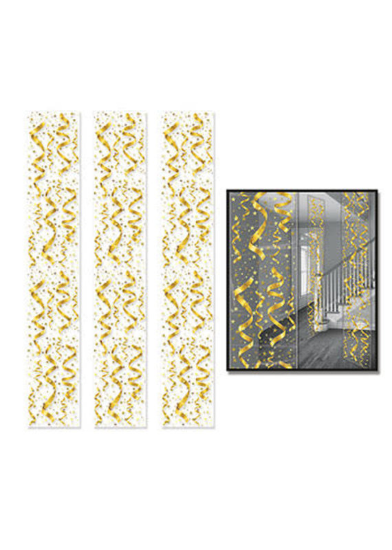 """****Serps & Confetti Gold Party Panels 12"""" x 6ft"""