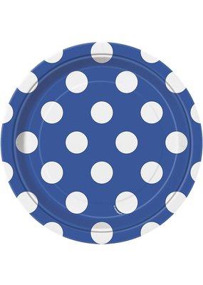 ****Blue Dots 7in Dessert Plate