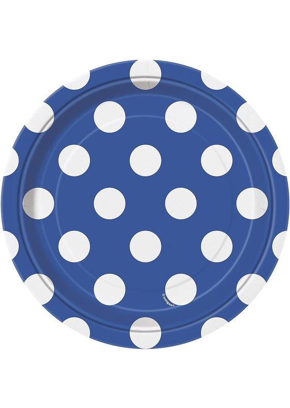 "****Royal Blue Dots 7"" Dessert Plates 8ct"